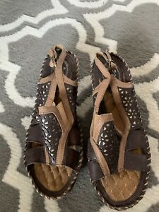 Ariat-Womens-Sandals-Size-8-5-B-Brown-Leather-Straps-Buckle-Slingback