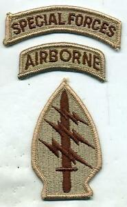 US-Army-Special-Forces-DCU-Desert-Tan-Patch-W-Airborne-amp-Special-Forces-Tabs