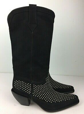 ca8e9666d20 Donald J Pliner Boots Women's Western Black Suede Leather Silver ...