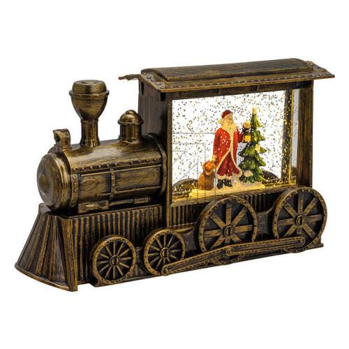 Weihnachten  LED Weihnachtslaterne mit Schneespiel Weihnachtsmann Lokomotive