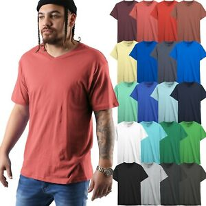 Mens-V-Neck-T-shirts-Short-Sleeve-Solid-Premium-Cotton-Basic-Tee-Casual