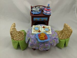 Fisher-Price-Loving-Family-Dollhouse-Formal-Dining-Room-Table-Covers-Chairs-Food