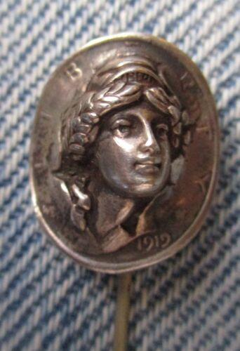 Early 20thc REPOUSSE Art Nouveau WOMAN STICK PIN M