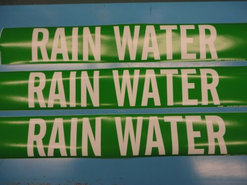 "3 Count /""RAIN WATER/"" 4/"" x 24/"" Brady Sticker Decal Vinyl Pipe Marker 7229-1HV"