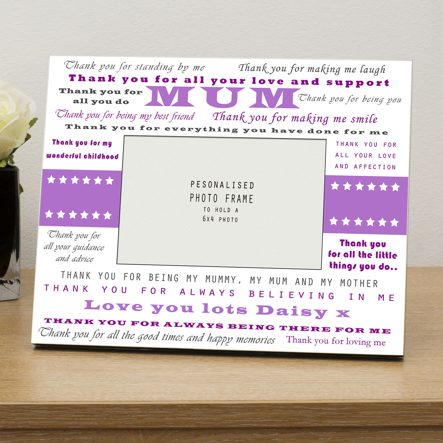 Thank You Mum Wooden Photo Frame 6x4 - Personalised Gift Mothers Day ...