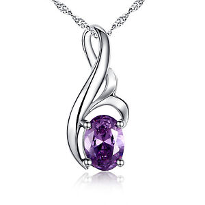 0-75-Ct-Amethyst-Oval-Cut-Pendant-Necklace-925-Real-Solid-Sterling-Silver-Chain