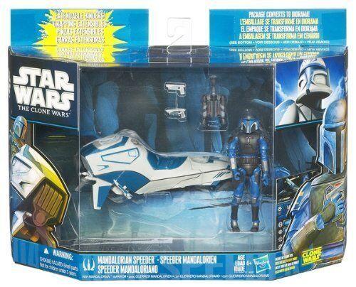 Star Wars, The Clone Wars: Mandalorian Speeder w/ Mandalorian Warrior NEW SEALED
