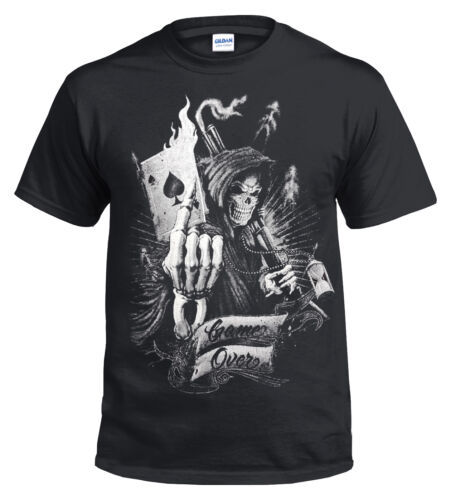 OFFICIAL Game Over T SHIRT//Reaper//Skull//Goth//Card//Poker//Ace//Metal//Rock//music//Top