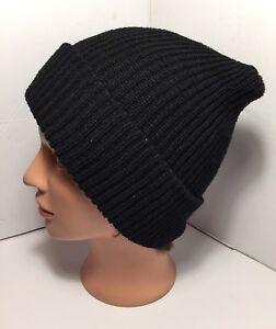 Black-Hats-Long-Cuff-Beanie-Cap-Head-wear-Warmer-Cold-Weather-for-Men-Women