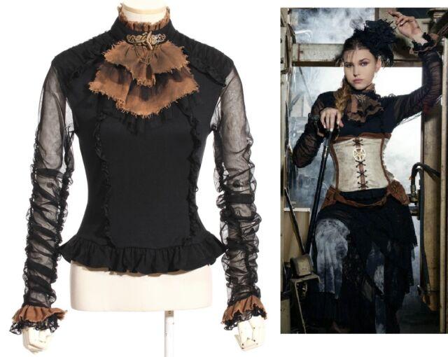 RQ-BL Steampunk Aviator Bluse Gothic Lolita Shirt Victorian Braun Spitze SP135