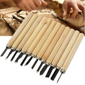 12pc-Caving-Knife-Gouges-Chisel-Set-Wood-Hand-Carving-Professional-Woodworker-nw