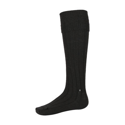 New Scottish Gents Kilt Hose Socks - Scottish Wool Blend - Black - 3 Sizes