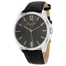Kenneth Cole KCW1041 Men's New York Quartz Black Dial Leather Strap Watch