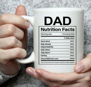 Funny Coffee Mug Dad Nutritional Facts Label, Large Ceramic Mug Tea Cup Novelty