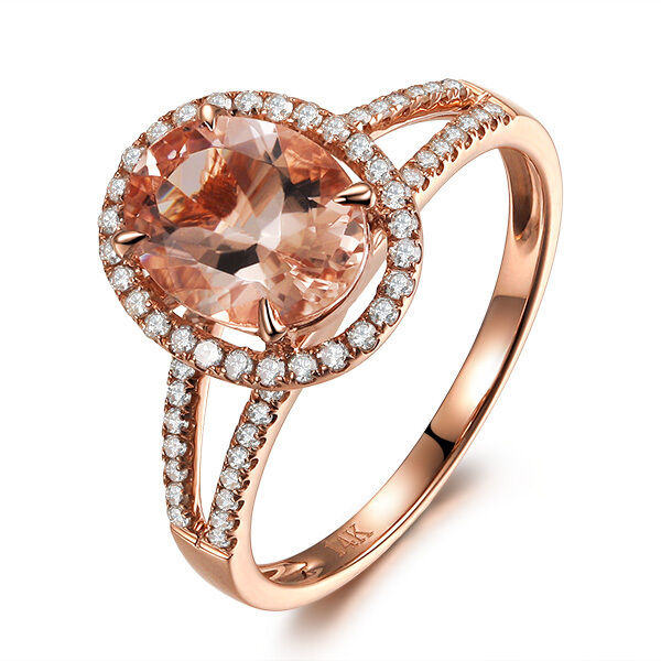 CLAW PRONG 14K pink gold Oval 6x8mm Morganite Halo .35ct Diamond Engagement Ring