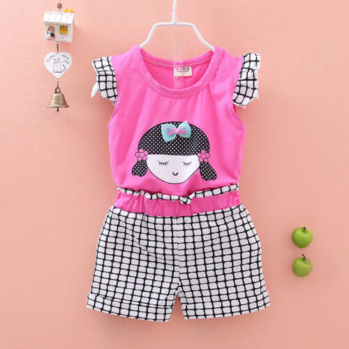 Kids girl summer clothes cotton baby Girls Tee short pants casual kids outfits