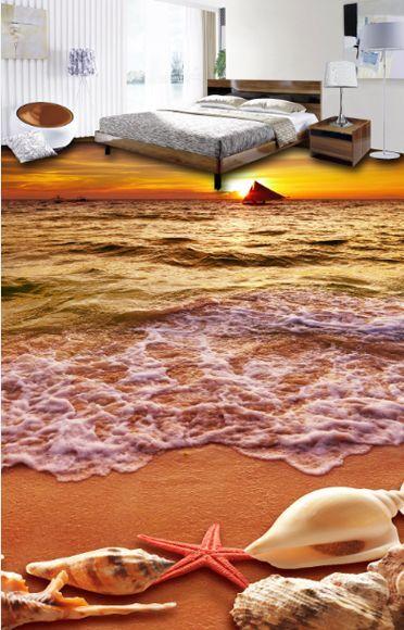 3D beach shell water 827 Floor WallPaper Murals Wall Print Decal 5D AJ WALLPAPER