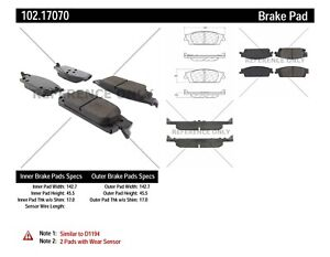 Centric Front /& Rear Metallic Brake Pads 2SET For Cadillac Escalade ESV