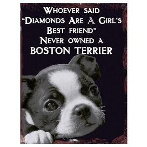 Vintage Boston Terrier Best Friend Retro Dog Home Quote Fridge Metal