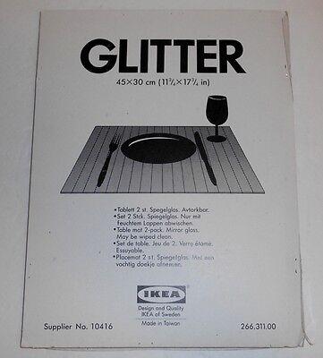 "Vintage Ikea Sweden Glitter 18 Slat Mirror Table Mat Placemat 2-Pack  12"" x 18"""