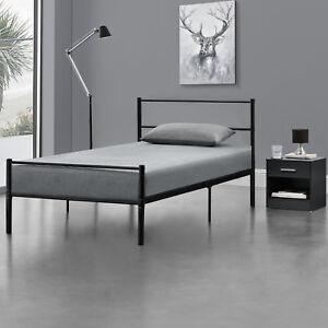en.casa® Metallbett 90x200 Schwarz Bettgestell Design Bett Schlafzimmer Metall