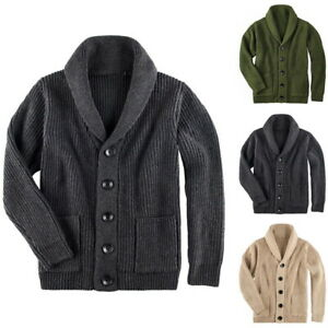 Mens-Chunky-Collar-Cardigan-Sweater-Shawl-Knitted-Jumper-Coat-Jacket-Warm-Tops