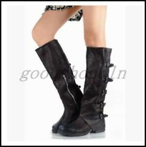 a91b3b8f02f Image is loading Vintage-Womens-Genuine-LEATHER-Knee-High-Boots-Buckles-