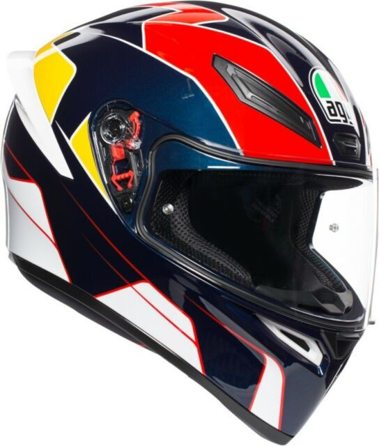 Casco Integral AGV K1 K-1 Múltiples Pitline Blue - Red - Yellow TALLA XS