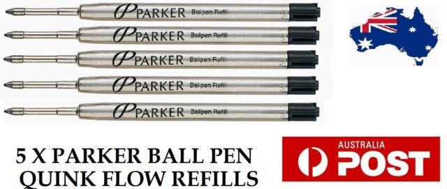 5 X PARKER QUINK FLOW BALL PEN POINT REFILLS REFILL - MEDIUM BLACK INK NEW