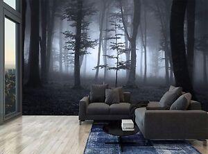 Blue Dark Forest Moon Night Fog Wall Mural Photo Wallpaper GIANT WALL DECOR