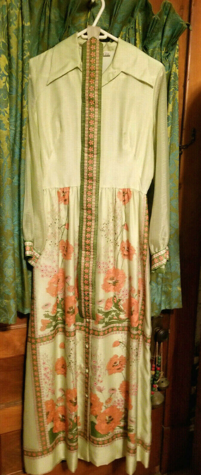 Vintage ALFRED SHAHEEN Apricot Floral Sleeveless Maxi Dress