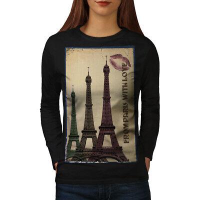 Brioso Torre Wellcoda Urban Landmark Da Donna Manica Lunga T-shirt, Landmark Casual Design-mostra Il Titolo Originale Colori Armoniosi