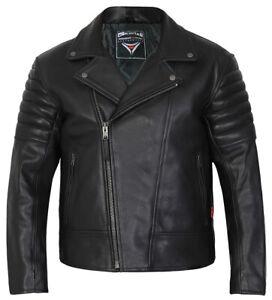 Leather-Motorcycle-Motorbike-Jacket-Biker-Mens-Black-CE-Armoured-Brando-Skintan