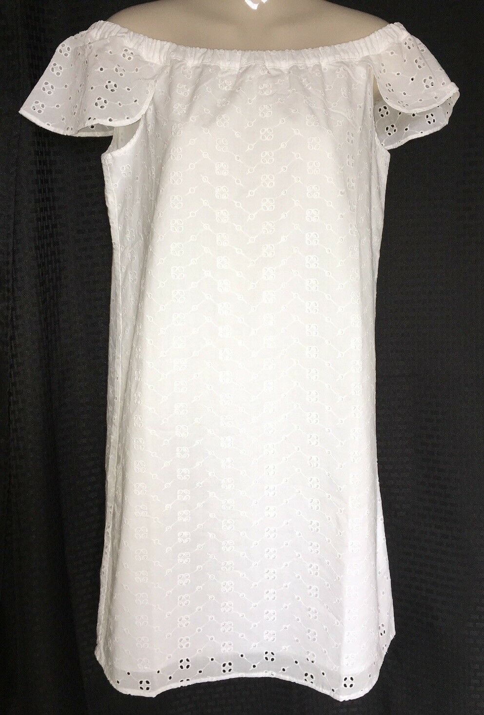 J Crew Dress Medium White Eyelet Off the Shoulder Shift NWT j0976  79.50