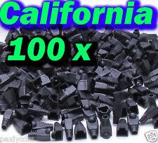 Lot 100 Pcs Black CAT5 CAT5E CAT6 RJ45 8P8C Plug End Boot Cap Snagless Cable