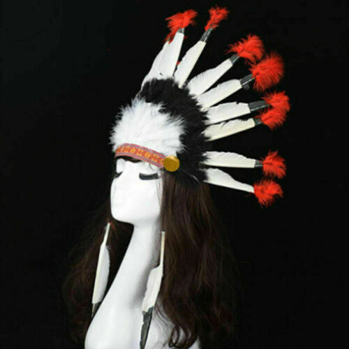 Adult Native American Red Indian Big Tribal Headdress Feather Hat Hot Gift lskn