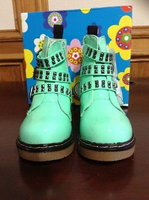 FREE SHIP NEW COCO MOTO JUMBO GIRLS TODDLER MINT GREEN PATENT BOOTS Super CUTE