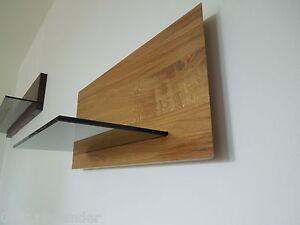 Glasregal Wandboard Eiche Massiv Holz Board Regal Glas Brett Neu
