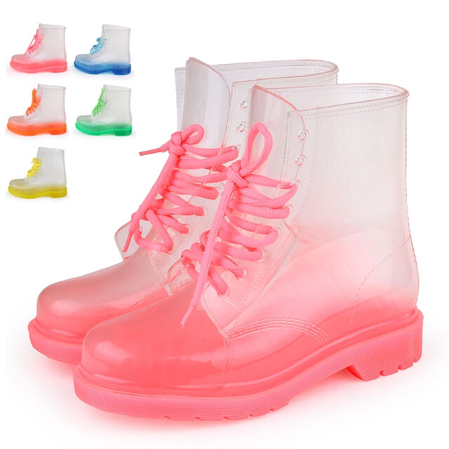 Nueva Mujer gumboots Zapatos Transparente Botas De Agua rainboots water boots