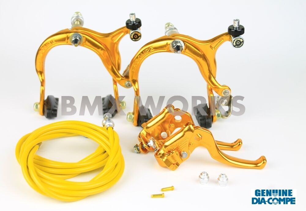 Dia-Compe MX883 - MX122 Gold Brake Set - Old School BMX Style Brakes