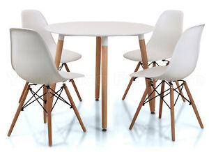 eiffel small white dining set 90cms round table wood legs 4 chairs art deco ebay. Black Bedroom Furniture Sets. Home Design Ideas