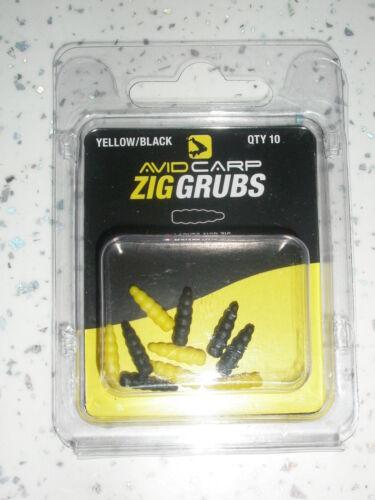 Avid Zig Grubs Schwarz/Gelb 10stk Angelsport Karpfenangeln Ausrüstung