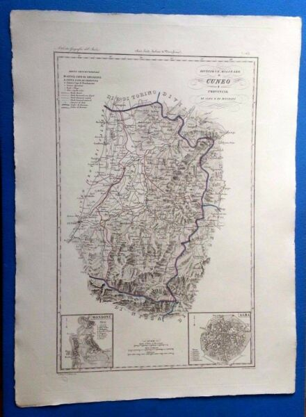 1 - Zuccagni Orlandini 1845 Carta Divisione Militare Cuneo Alba Cvmp17/11/17 Completa In Specifiche