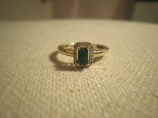 Lovely Natural Emerald and Diamond 10k Gold Hallo Ring Size - 5.75
