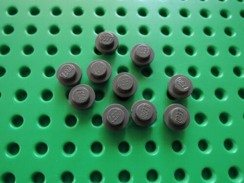 Lego 10 x placa redonda 4073 1x1 ALT gris oscuro Dark Gray