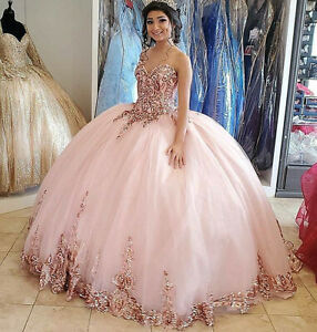 Pink Lace Quinceanera Dresses Sequin Prom Ball Gown Sweet 15 16 Pageant Dress
