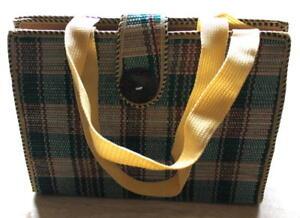 Ladies-Women-Jute-Weave-Handbag-Green-Red-Square-M