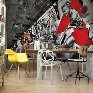 Tapete Fototapete Papier Grunge Graffiti Schwarz Weiß Rot Ebay