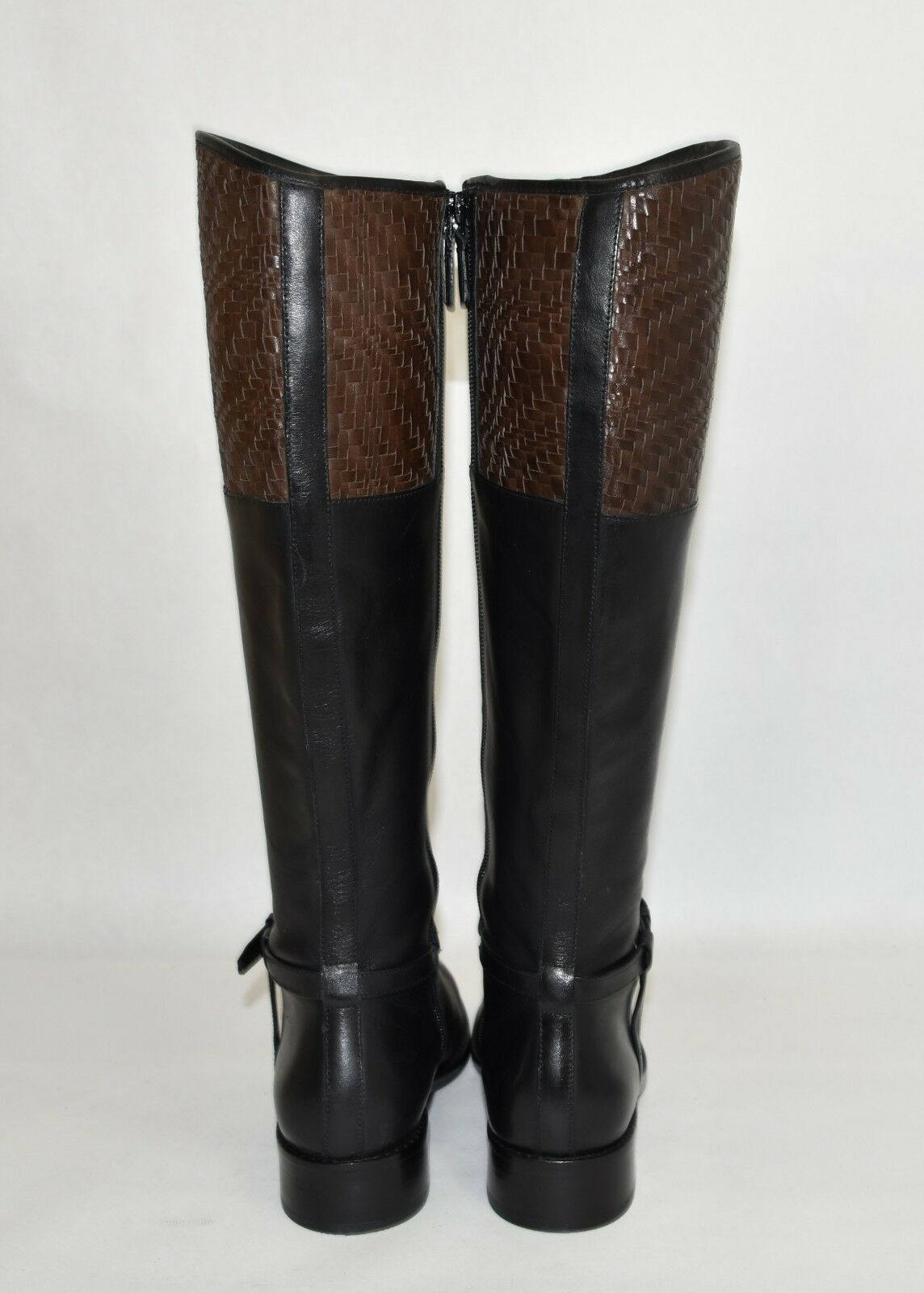 New New New  Cole Haan Genevieve Woven Cuff Riding Boot Black Leather Size 7 w05276 T33 8235b9