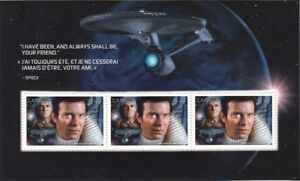 STAR-TREK-ADMIRAL-JAMES-T-KIRK-SS-of-3-from-PRESTIGE-booklet-MNH-Canada-2017